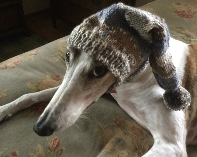 Pointed Hat with Snood for Greyhound or Other Large Sighthound-Beach patterned yarn