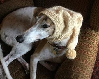 Greyhound hat with snood Custard--super soft!