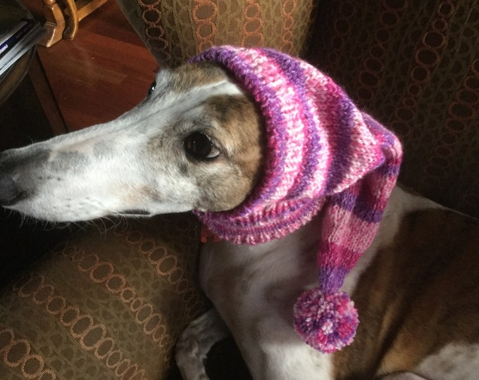 Greyhound pointy hat with Snood--7517 Razzle