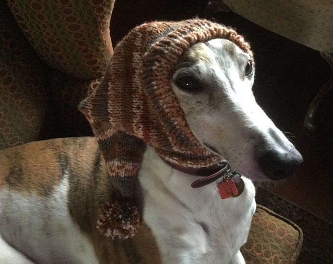 Pointed Hat with Snood for Greyhound--fair isle pattern Red Clay