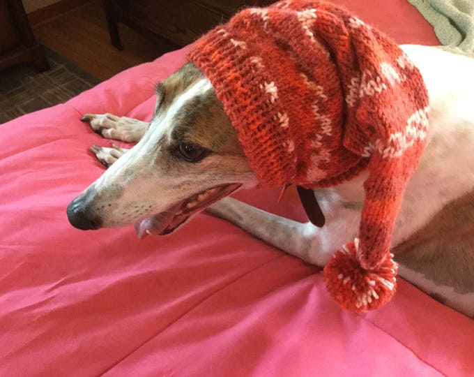 Pointed Hat with Snood for Greyhound or Other Large Sighthound--fair isle pattern Chile Pepper