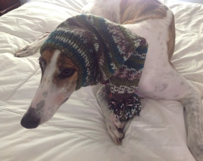 Pointed Hat with Snood for Greyhound --fair isle pattern Capri Breeze