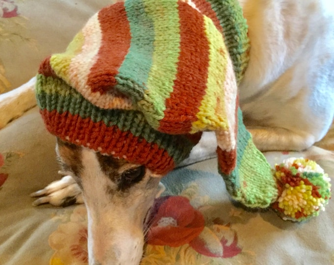 Pointed Hat with Snood for Greyhound - Desertscape Stripes