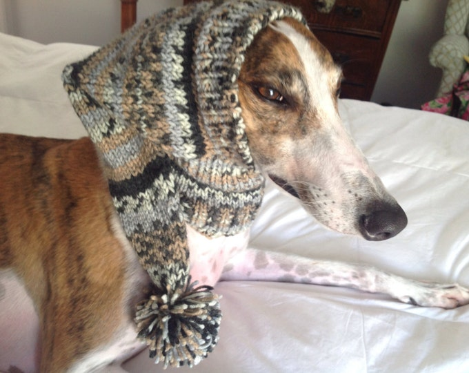 Pointed Hat with Snood for Greyhound --fair isle pattern Taupe Tones