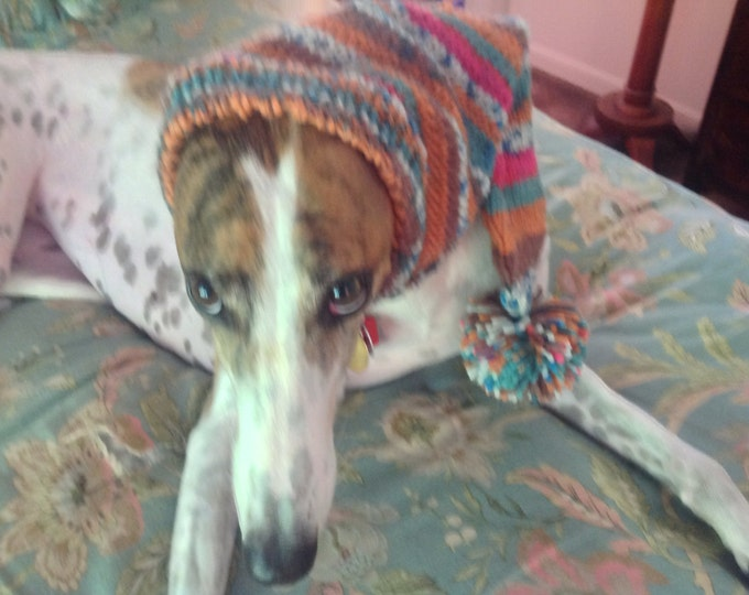 Pointed Hat with Snood for Greyhound--fair isle pattern Carnival