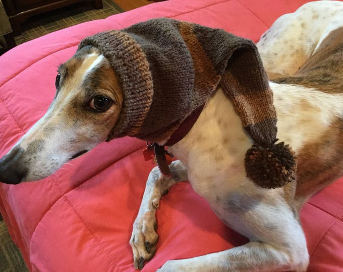 Pointed Hat with Snood for Greyhound - Cafe Latte Stripes