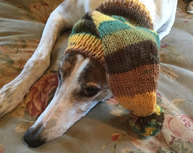 Pointed Hat with Snood for Greyhound - stripes in Autumn Equinox