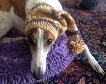 Pointed Hat with Snood for Greyhound -fair isle pattern The Naturals