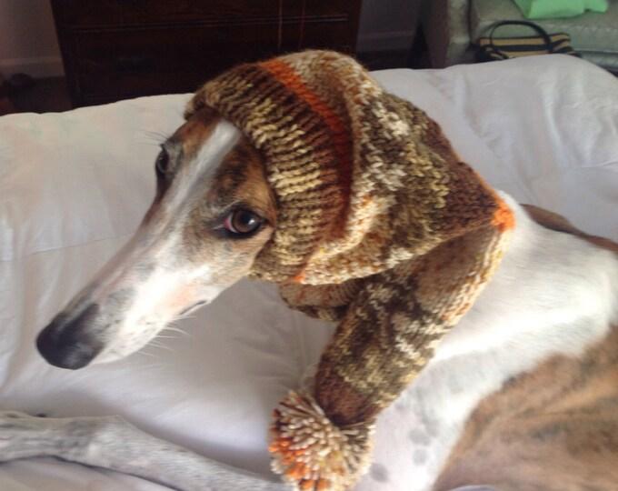 Greyhound hat with snood -Alize yarn 1647 Autumn Mix