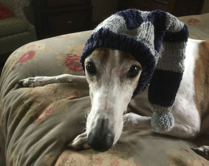 Greyhound hat with snood in Navy & Grey Sport Stripes!