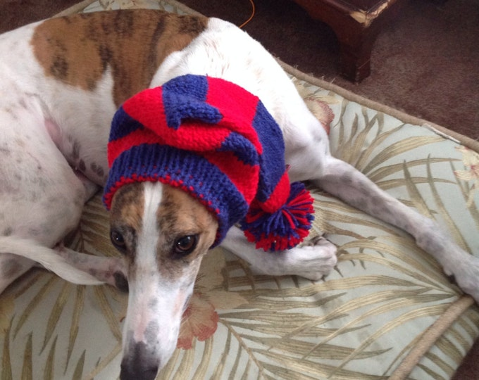 Greyhound hat with snood in Chicago Cubs stripes!