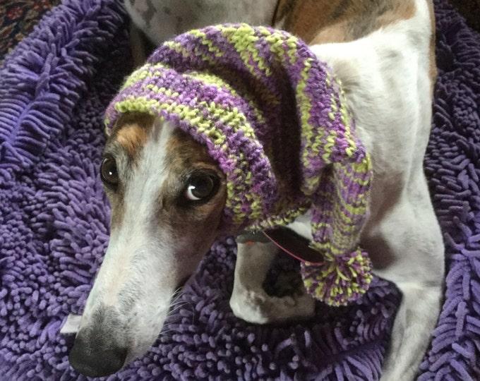 Greyhound pointy hat with snood--Impressions yarn # 495 Carnival