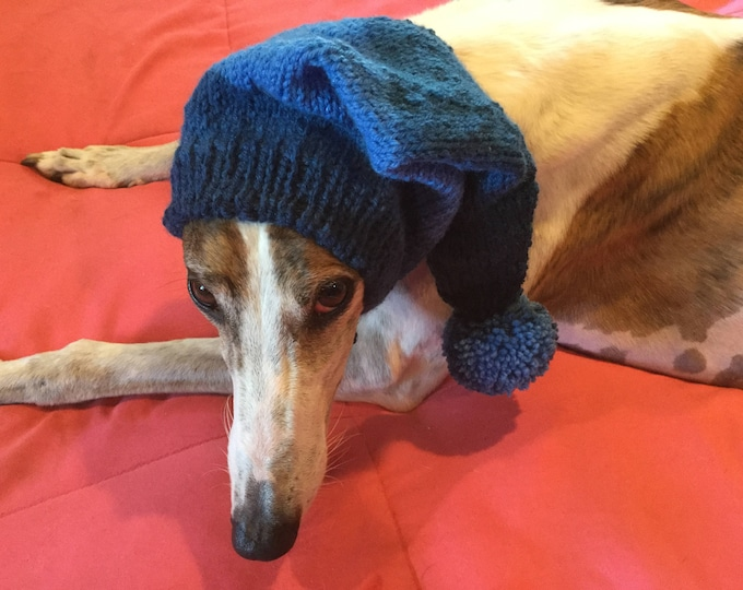 Greyhound hat with snood-Blue # 7657
