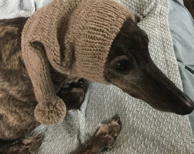 Warm Wool Hat with Snood for a Greyhound #229 Paton's Natural Mix