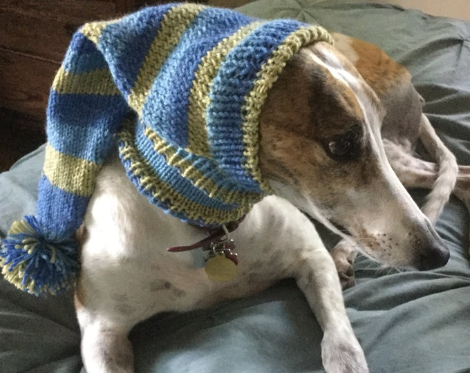 Pointed Hat with Snood for Greyhound - stripes in Green Blues