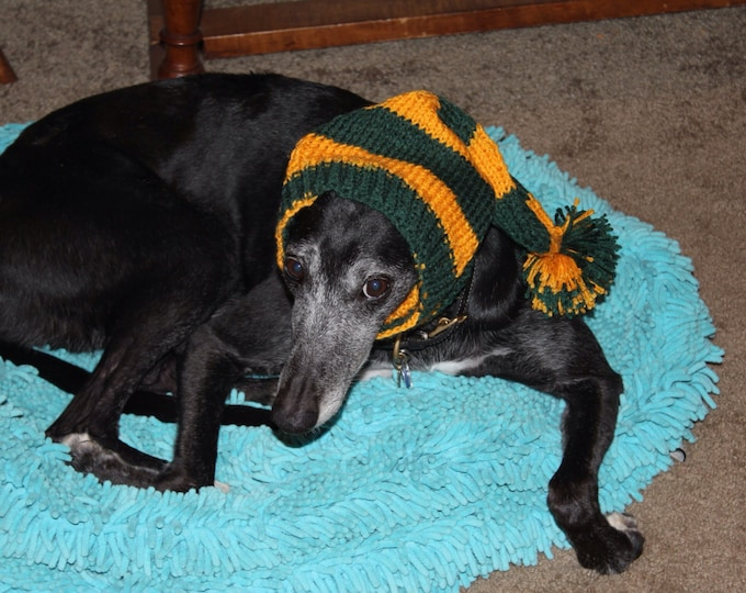 Greyhound hat with snood in Green Bay Packers stripes!