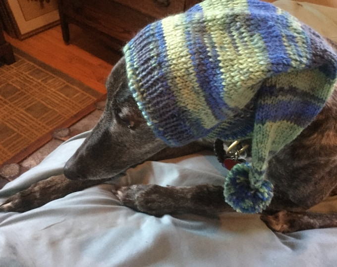 Pointed Hat with Snood for Greyhound - 905 Blue Meadow Magic