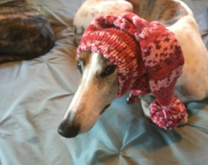 Pointed Hat with Snood for Greyhound or Other Large Sighthound-Fair Isle Pattern Sweetheart