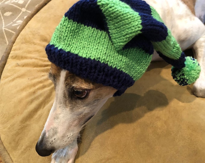 Greyhound hat with snood in Navy & Green Sport Stripes!