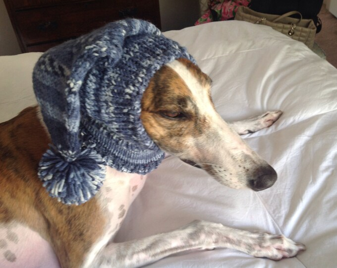Pointed Hat with Snood for Greyhound or Other Large Sighthound--fair isle pattern Indigo Blues