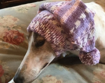 Pointed Hat with Snood for Greyhound--fair isle pattern Lilac Lace