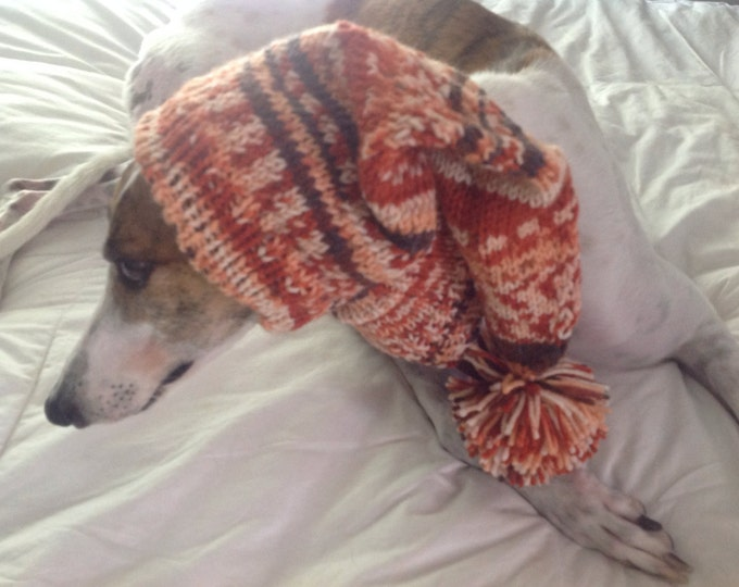 Pointed Hat with Snood for Greyhound--fair isle pattern Repartee