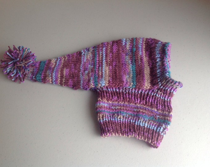 Whippet sized pointy hat with snood #152 Purple Heather