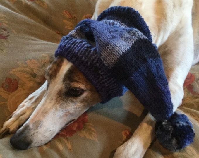 Pointed Hat with Snood for Greyhound - stripes in Midnight Blues