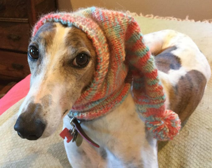 Greyhound hat with snood-Bermuda--super soft!