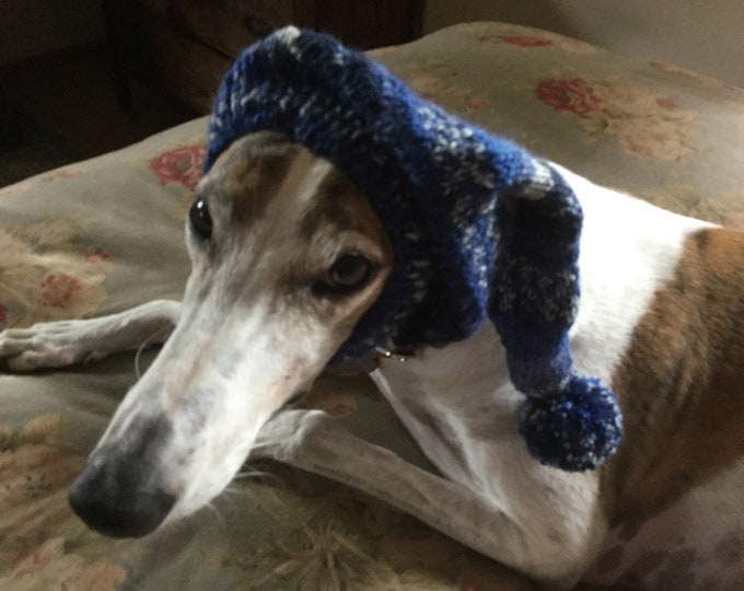 Pointed Hat with Snood for Greyhound - Instant Print Blue & Slate