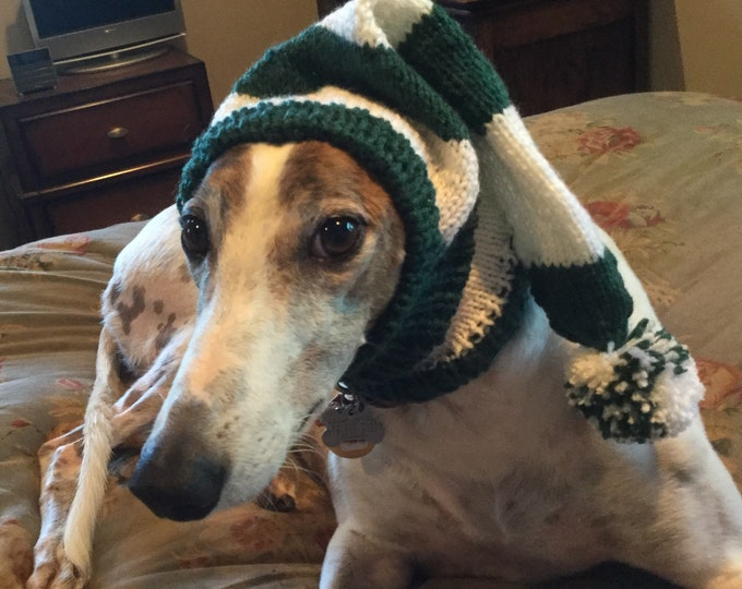 Greyhound hat with snood in Green & White Sport Stripes!