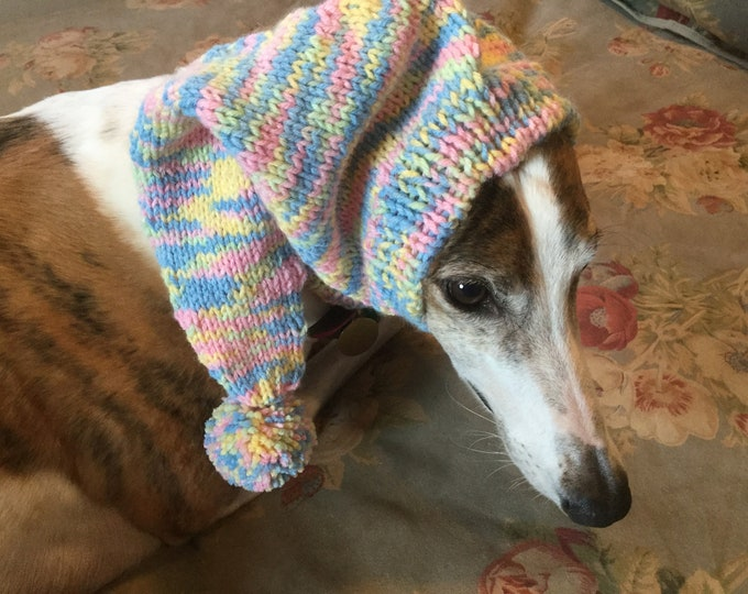 Greyhound pointy hat with snood--Impressions yarn # 491 Easter Gift