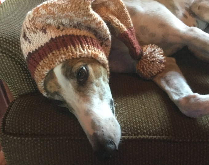 Pointed Hat with Snood for Greyhound or Other Large Sighthound-Alize Yarn 4765