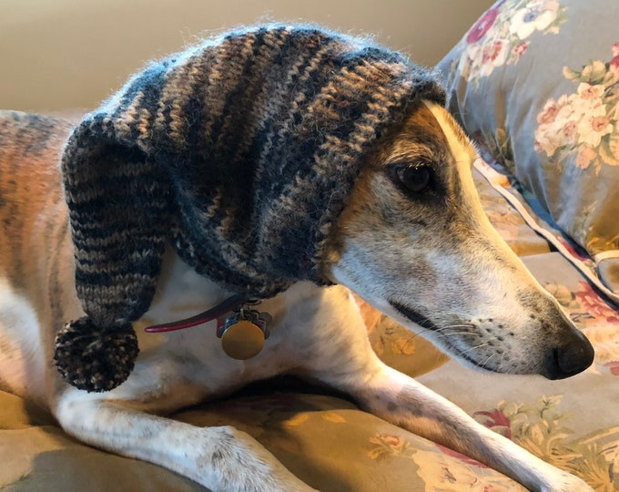 Greyhound hat with snood Cheetah Spot--super soft!