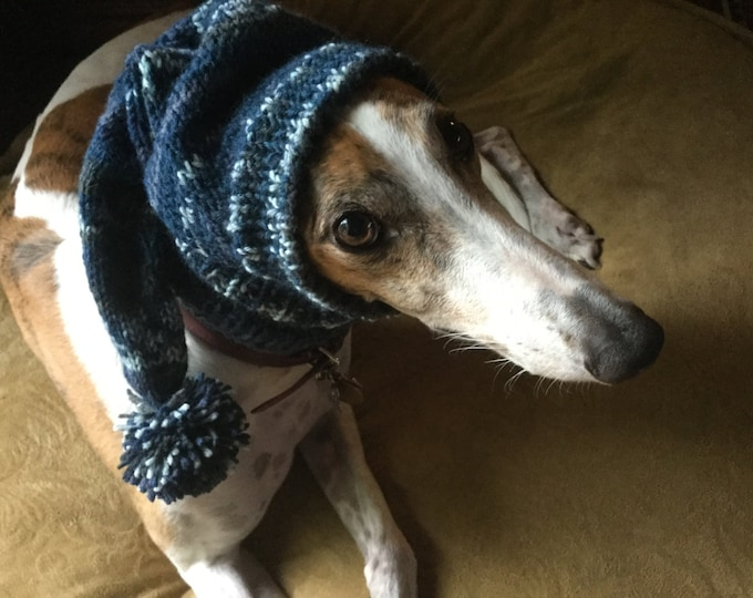 Pointed Hat with Snood for Greyhound --fair isle pattern Midnite Blues