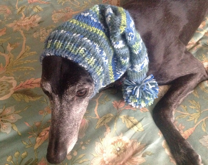 Pointed Hat with Snood for Greyhound -fair isle pattern Prairie Fields