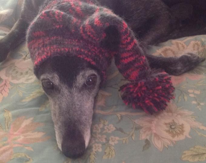 Greyhound hat with snood Pink Strobe--super soft!