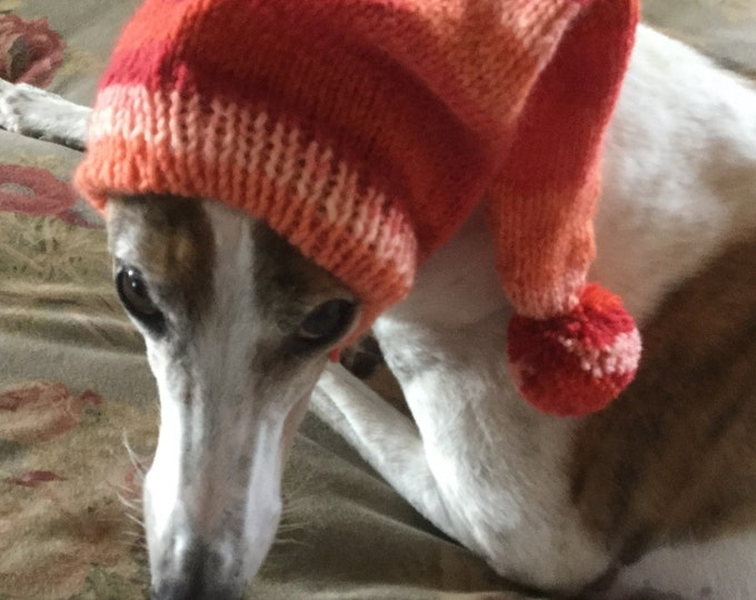 Pointed Hat with Snood for Greyhound - Hawaiian Sunset  Stripes