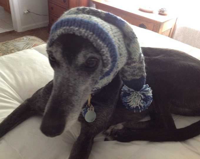 Hat for a Greyhound--pointy hat with snood- Alize yarn 1676