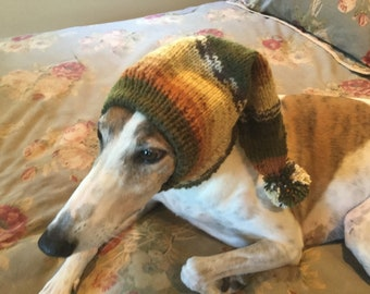 Pointed Hat with Snood for Greyhound -Alize 5856 Wheat, Olive, & Rust