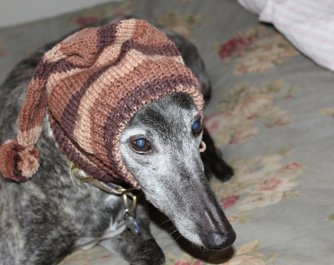Pointed Hat with Snood for Greyhound -- #11 Fields Stripes