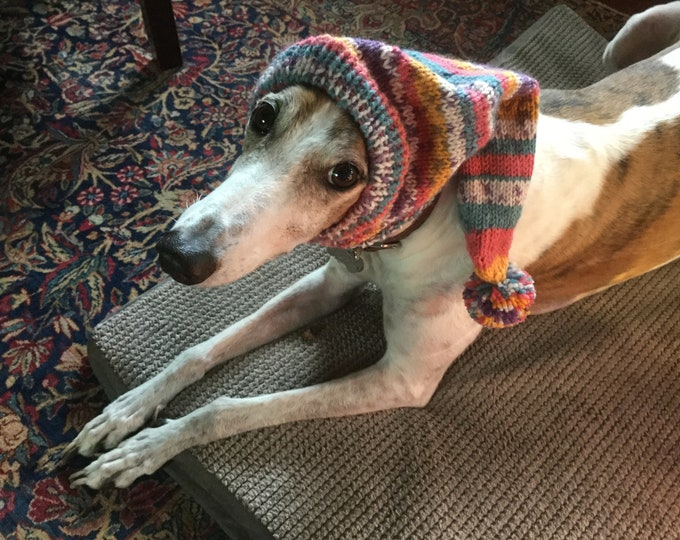 Pointed Hat with Snood for Greyhound--fair isle pattern Party Time