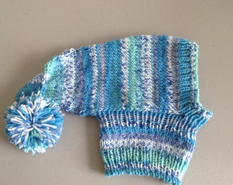Whippet sized pointy hat with snood- #98 Turquoise