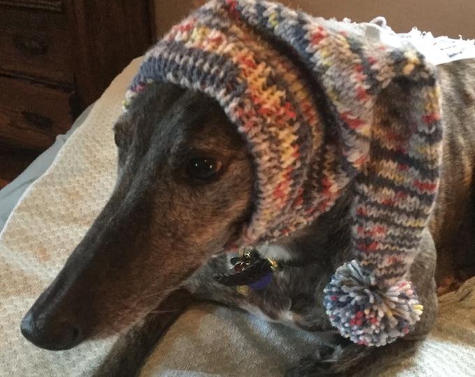 Greyhound pointy hat with Snood--7144 Grey, Peach, Yellow