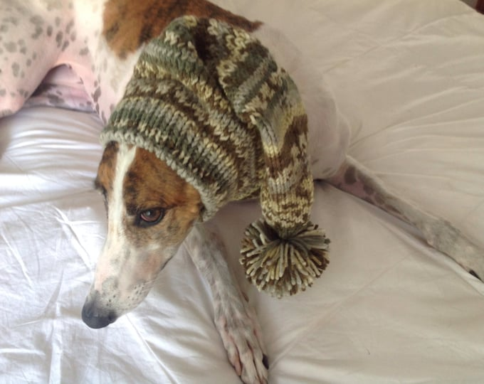 Pointed Hat with Snood for Greyhound or Other Large Sighthound--fair isle pattern Forrest