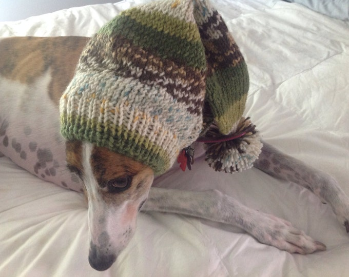 Greyhound hat with snood fair isle-Alize yarn 1674