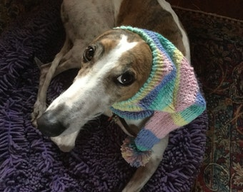 Pointed Hat with Snood for Greyhound - stripes in Baby Shades