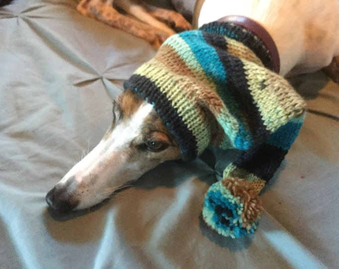 Pointed Hat with Snood for Greyhound - stripes in Sea Sand