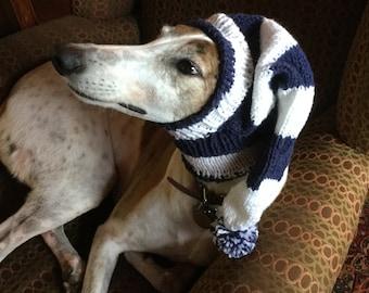 Greyhound hat with snood in Navy & White Sport Stripes!