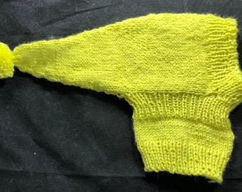 Italian greyhound pointy hat with snood-Citronnier imported French yarn